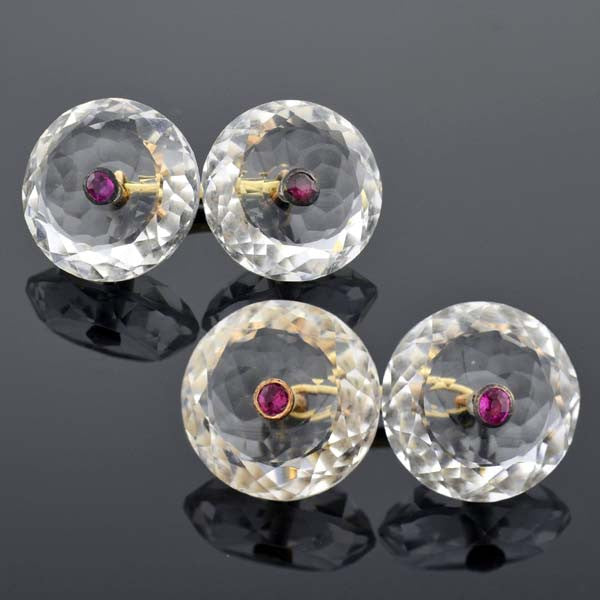 Edwardian 18kt Rock Quartz Ruby Cufflinks