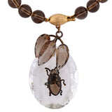 Art Deco 14kt Rock Quartz & Smoky Topaz Beetle Necklace
