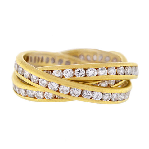 Estate 18kt & Diamond 3-Band Rolling Trinity Ring