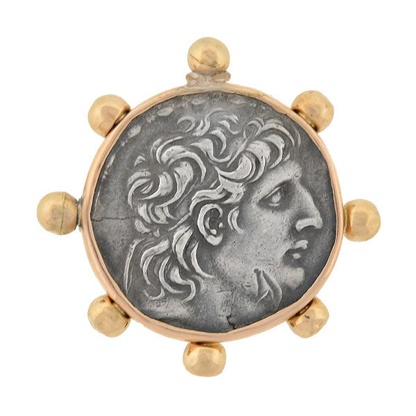 Estate 18kt & Silver Ancient Roman Style Coin Pin/Pendant