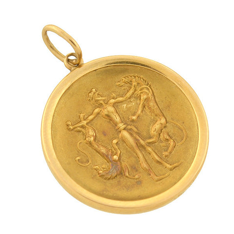 "Estate 18kt Roman ""Gladiator & Lions"" Disc Pendant"