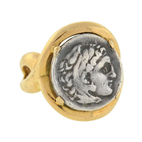 Estate 18kt & Silver Ancient Roman Style Coin Ring