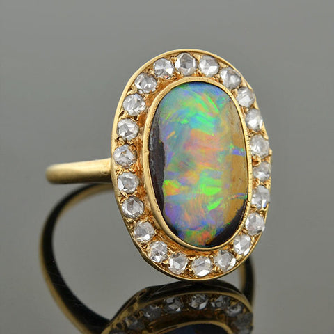 Edwardian 14kt Boulder Opal & Rose Cut Diamond Ring