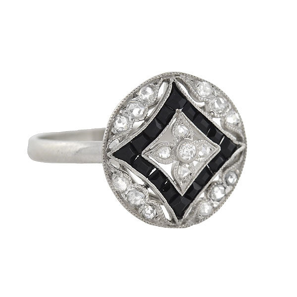 Edwardian Platinum Diamond & Onyx Filigree Ring