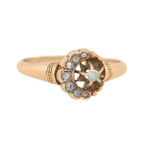 Victorian 14kt Rose Cut Diamond Crescent Moon & Star Ring