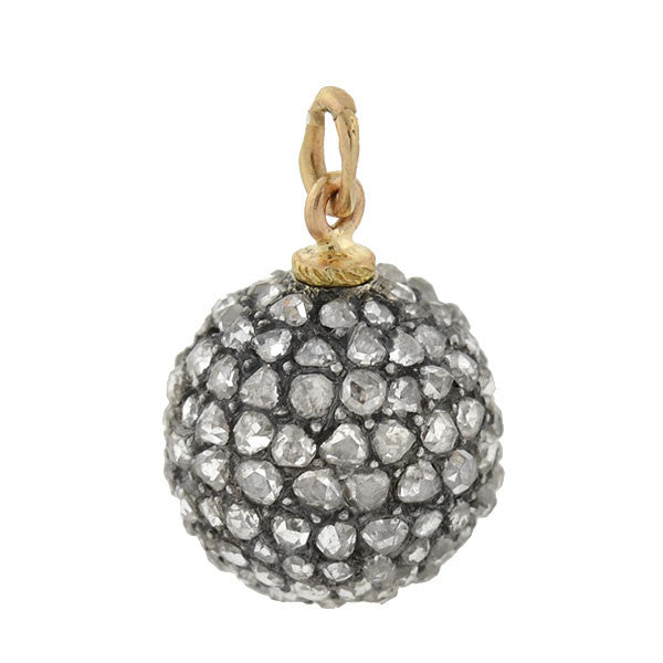 Victorian Silver Rose Cut Diamond Mini Ball Charm/Pendant 1ctw