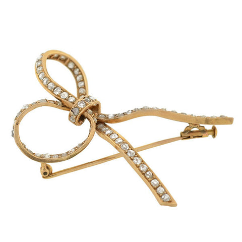Victorian Large 18kt Rose Cut Diamond Bow Pin 2.00ctw