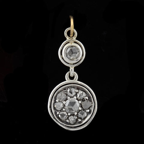 Victorian Sterling & 18kt Rose Cut Diamond Cluster Pendant 1.20ctw