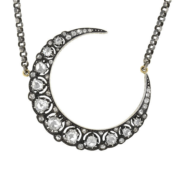 Victorian 15kt & Sterling Diamond Crescent Necklace