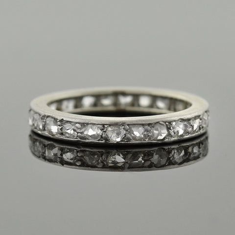 Edwardian French Platinum & Rose Cut Diamond Eternity Band .65ctw