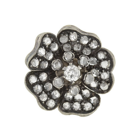 Victorian Sterling 14kt Rose Cut Diamond Flower Stud Earrings