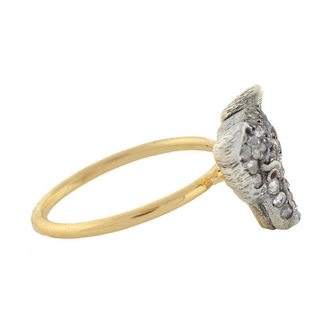 Late Victorian 14kt/Silver Rose Cut Diamond Fox Ring