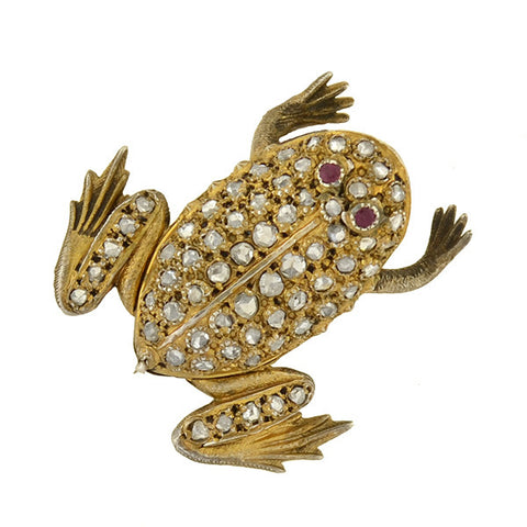 Late Victorian Silver Gilt Rose Cut Diamond & Ruby Frog Pin