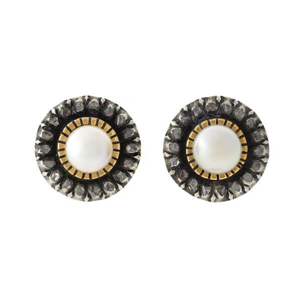 Victorian Style Silver Topped 14kt Pearl Diamond Stud Earrings