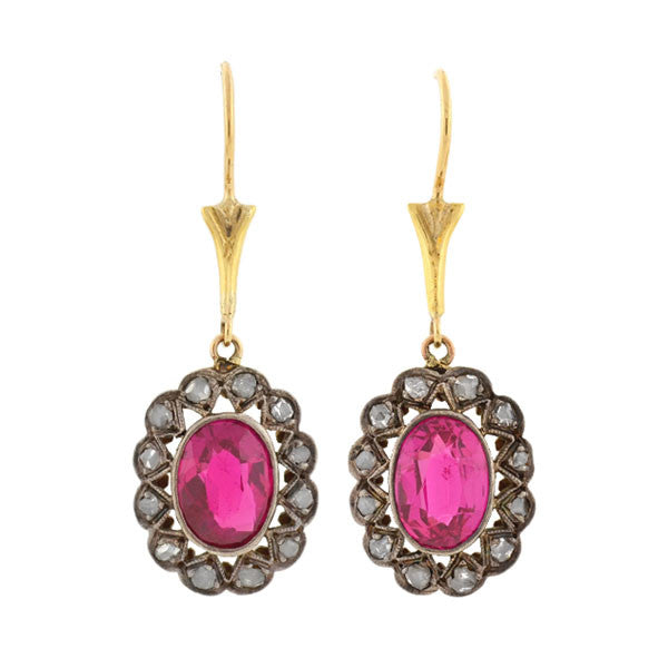 "Late Art Deco 14kt & Sterling Diamond ""Ruby"" Earrings"