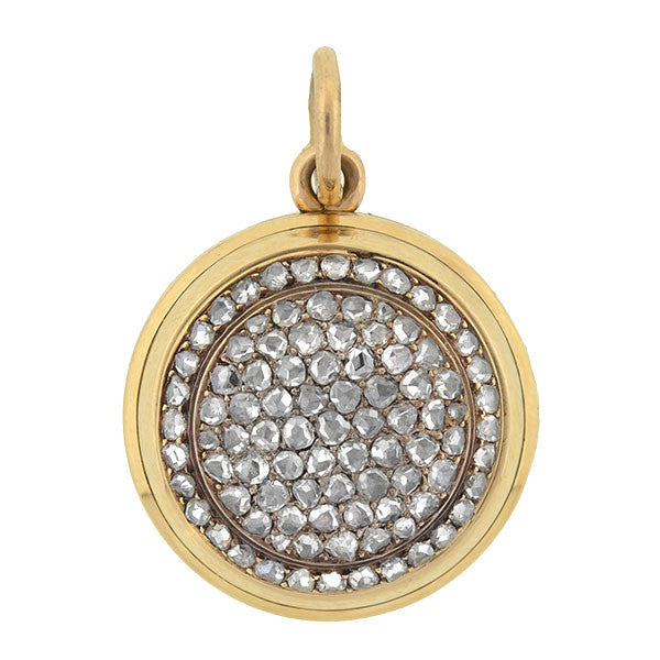 Victorian 18kt Rose Cut Diamond Reversible Locket/Pendant