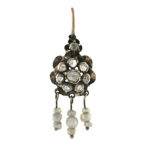 Victorian 12kt/Silver Rose Cut Diamond Cluster & Pearl Fringe Earrings