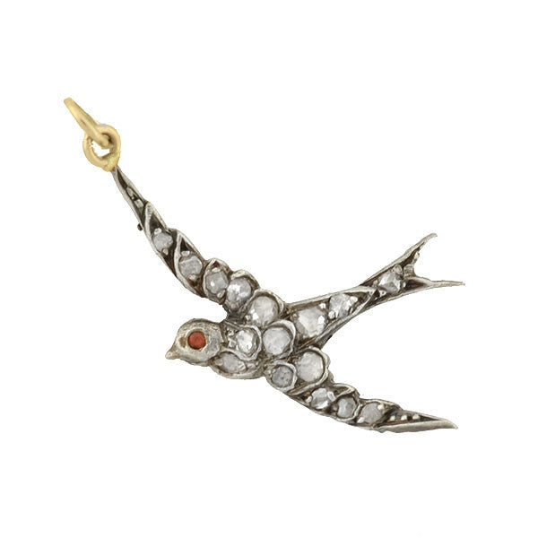 Victorian Silver Gilt & Rose Cut Diamond Bird Charm