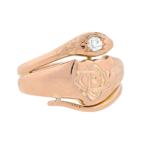 Victorian 18kt Rose Gold & Diamond Intaglio Snake Ring