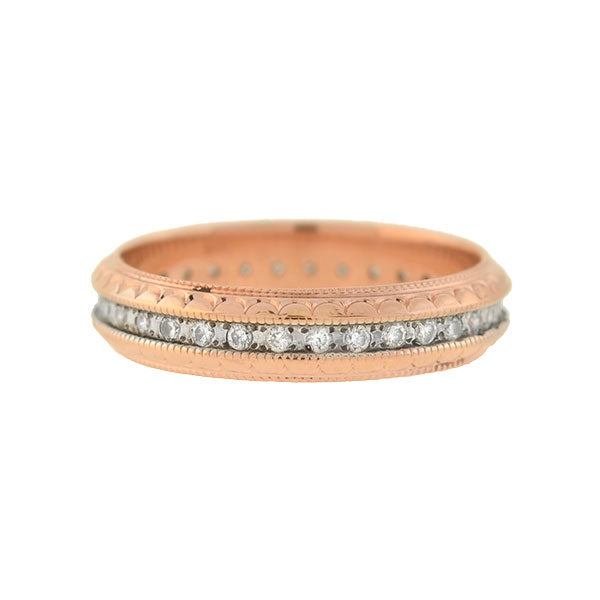 Retro 14kt Rose Gold Diamond Eternity Band 0.50ctw