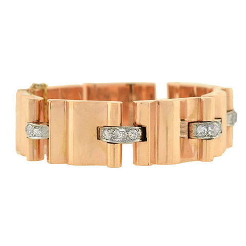 Retro 14kt Gold & Diamond Heavy Link Bracelet