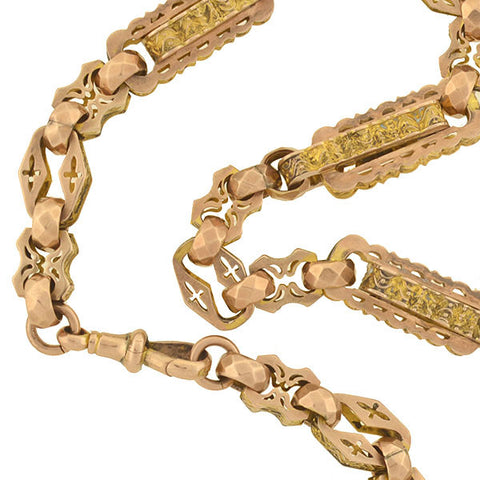 "Victorian 9kt Gold Fancy Link Chain Necklace 13"" 29.6G"