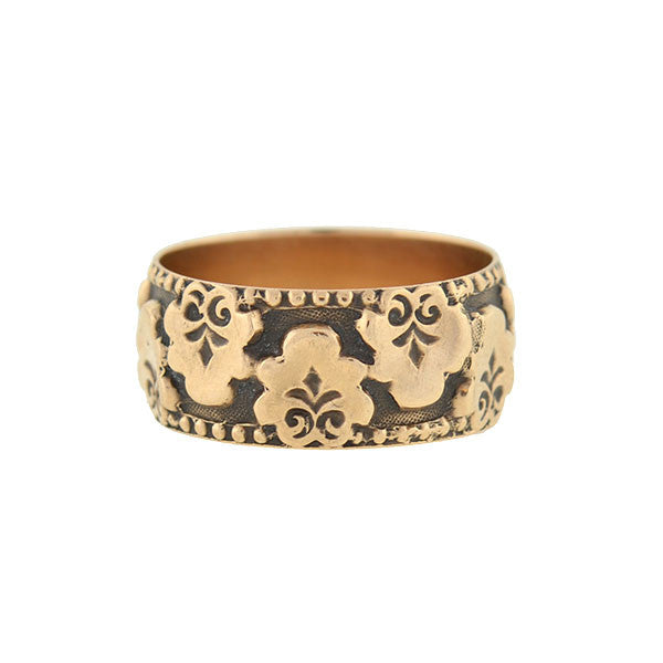Victorian 14kt Rose Gold Flower Appliqué Band Ring