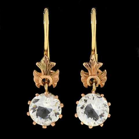 Victorian 14kt Rose Gold & French Paste Earrings