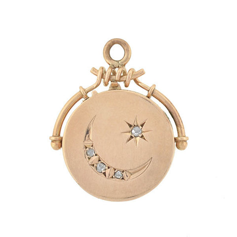 Victorian 14kt Rose Gold & Diamond Star & Crescent Locket
