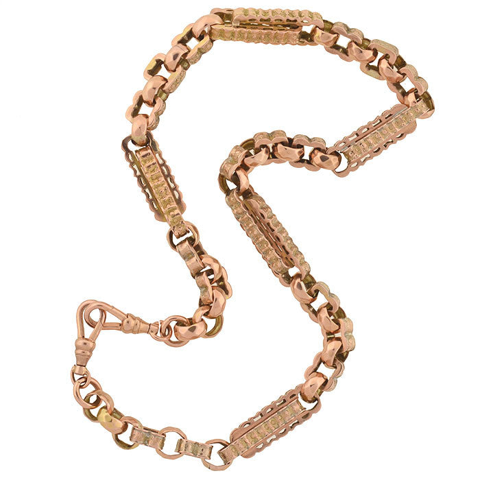 Victorian 9kt Fancy Link Rose Gold Chain Necklace 16""