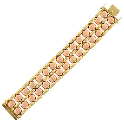 Retro 14kt Yellow & Rose Tire Track Link Bracelet 41.2dwt