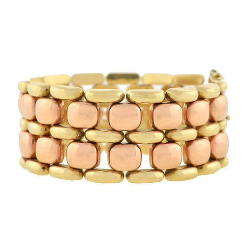Retro 14kt Yellow & Rose Gold Tire Track Link Bracelet 41.2dwt