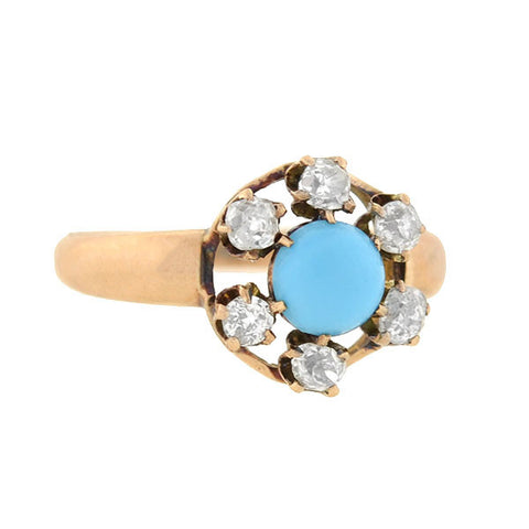 Victorian 14kt Gold Turquoise & Diamond Cluster Ring