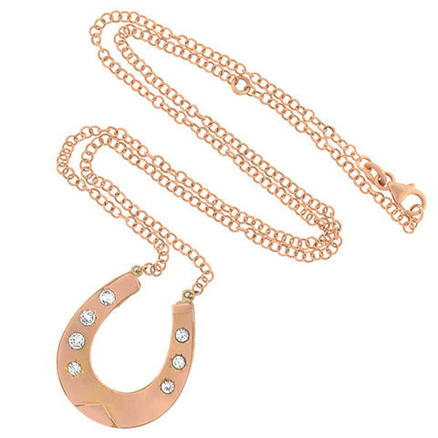 Victorian 10kt Rose Gold & White Sapphire Horseshoe Necklace