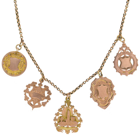 Victorian English 9kt Rose Gold Multi-Medallion Pendant Necklace
