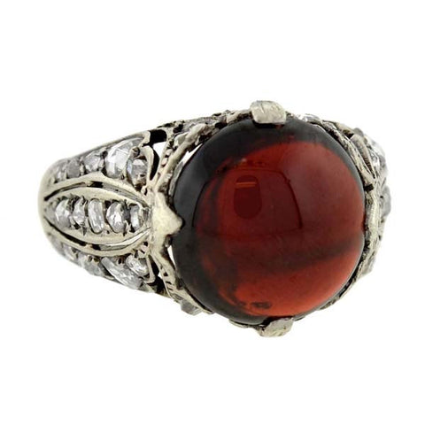 Early Victorian Sterling Garnet Rose Cut Diamond Ring