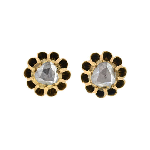 Early Victorian 15kt Rose Cut Diamond Studs