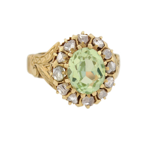 Victorian 14kt Natural Green Spinel + Diamond Cluster Ring 3.00ct center