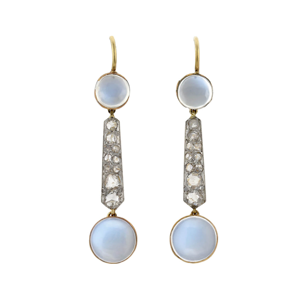 Edwardian Platinum/14kt Moonstone + Rose Cut Diamond Drop Earrings