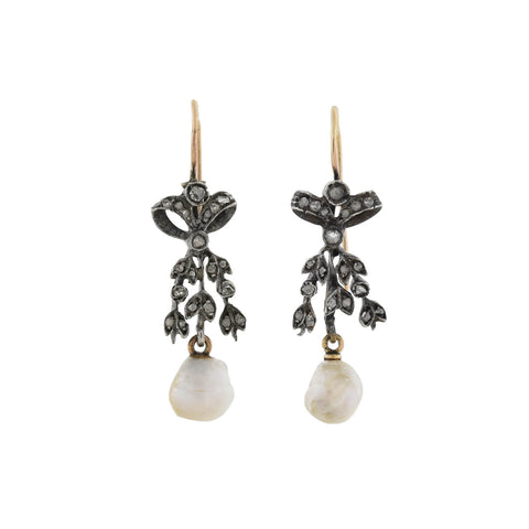 Victorian Sterling/14kt Rose Cut Diamond + Natural Pearl Bow Motif Earrings