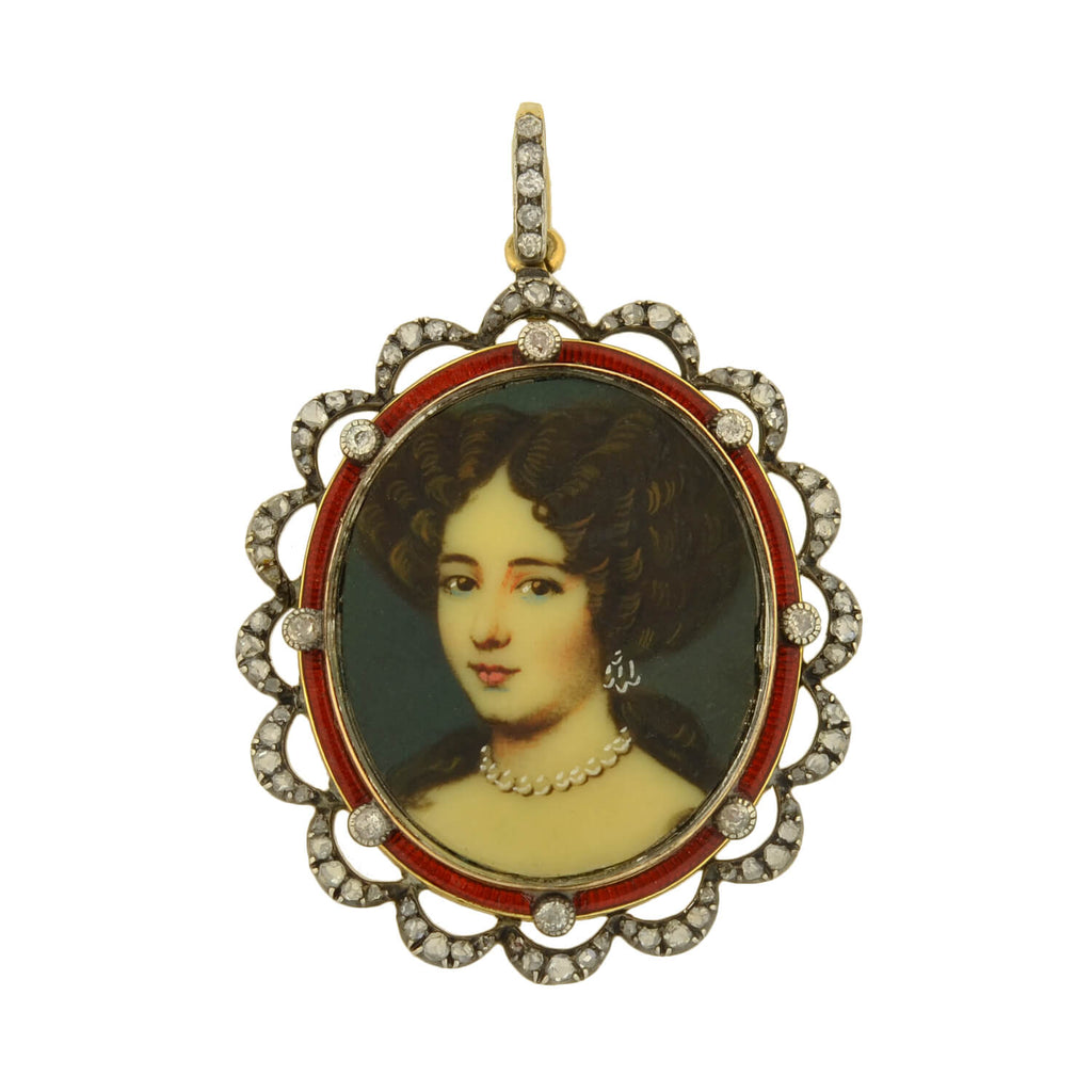 Victorian Sterling/14kt Enameled Diamond + Painted Portrait Locket Pendant