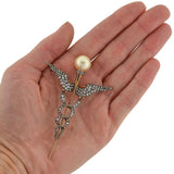 Victorian Huge 14kt/Silver Diamond & Pearl Caduceus Pin