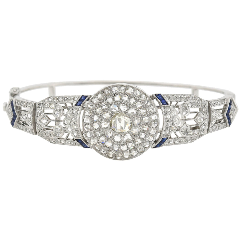 Edwardian Platinum Rose Cut Diamond + Sapphire Bangle Bracelet 2.00ctw