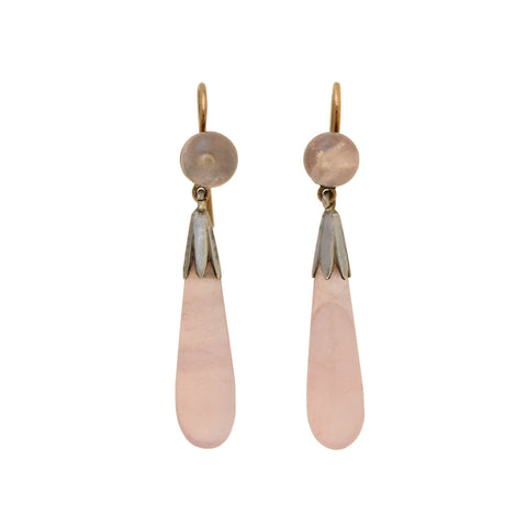 Art Deco Sterling/9kt Rose Quartz Teardrop Earrings