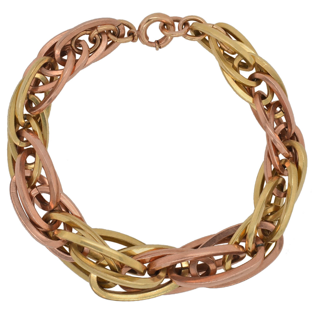 Vintage 12kt Rose + Yellow Gold-Filled Chain Bracelet