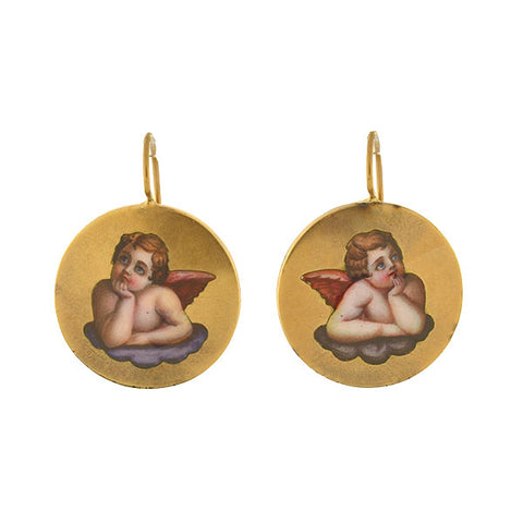 Victorian 14kt Painted Enamel Cherub Earrings