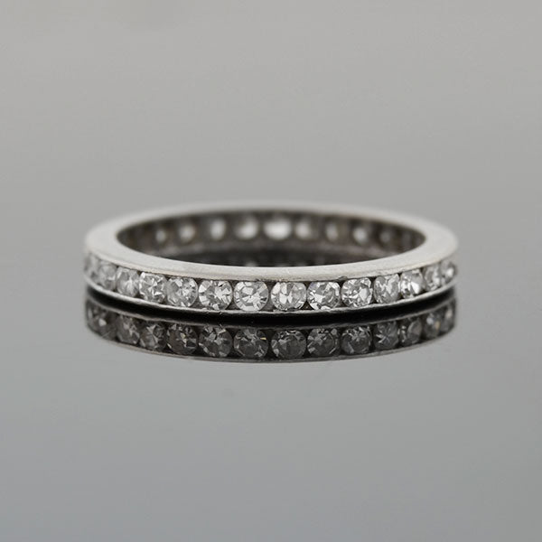Edwardian Platinum Single Cut Diamond Eternity Band 0.50ctw