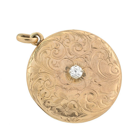 Victorian 14kt Rose Gold & Diamond Floral Etched Locket