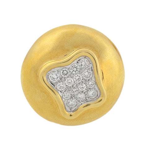Estate 18kt Gold & Pave Diamond Clip Earrings 1ctw