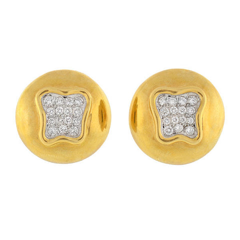 ASCH GROSSBARDT Estate 14kt Gold & Enamel Dot Earrings